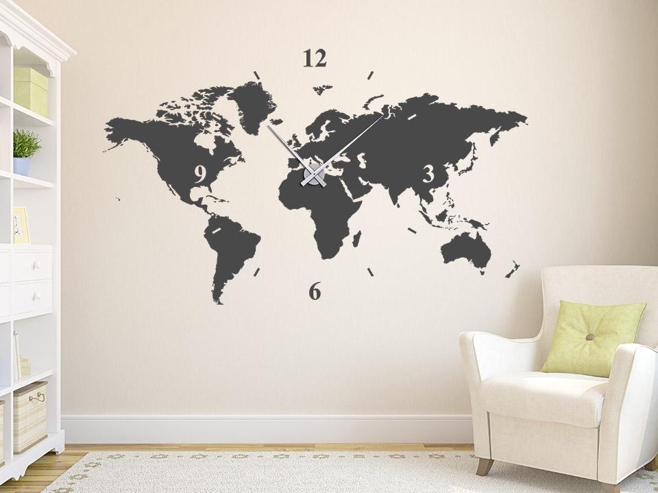 Wanduhr Wandtattoo Uhr Welt Wandtattoo Welt Karte Wohnzimmer Flur Wandtattoos Wanduhren