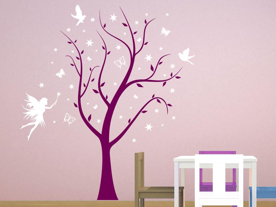 Wandtattoo Magischer Baum mit Fee  Wandtattoocom
