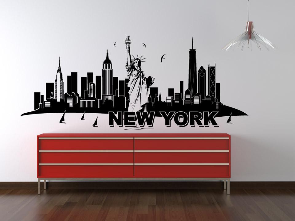 Wandtattoo New York Skyline mit Freiheitsstatue  Wandtattoocom
