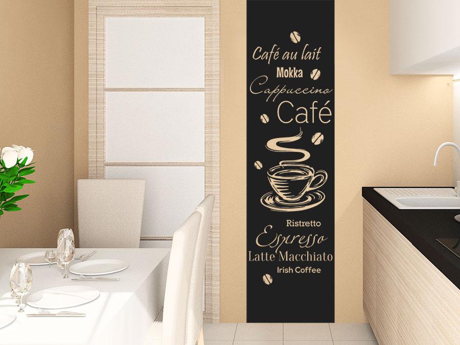 Wandtattoo Kaffee Banner Kaffeesorten  WANDTATTOODE