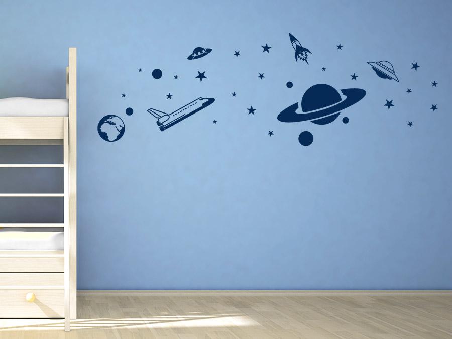 Wandtattoo Weltraum mit Raketen und Planeten  WANDTATTOODE