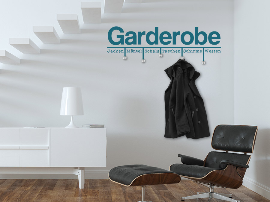 Wandtattoo Garderobe Modern mit Wandhaken  WANDTATTOODE