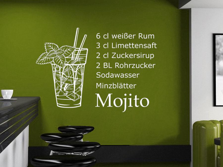 Wandtattoo Mojito Cocktailrezepte  WANDTATTOODE