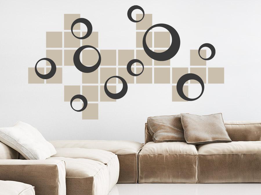 Wandtattoo Retro Kreise mit Quadraten  WANDTATTOODE