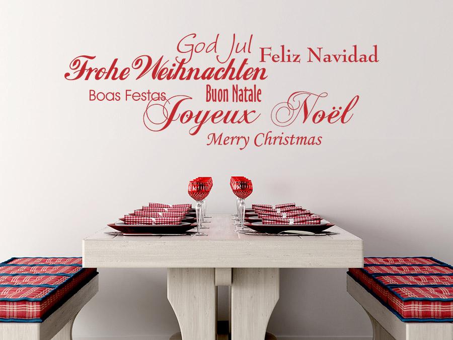 Wandtattoo Frohe Weihnachten in 7 Sprachen  WANDTATTOODE