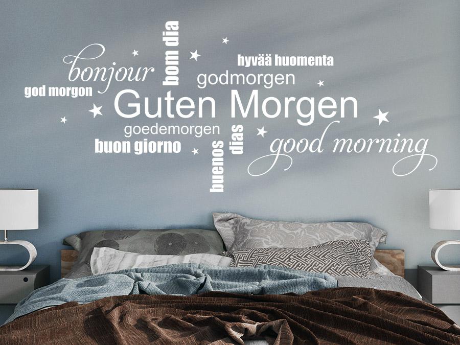 Wandtattoo Guten Morgen Wortwolke  WANDTATTOODE