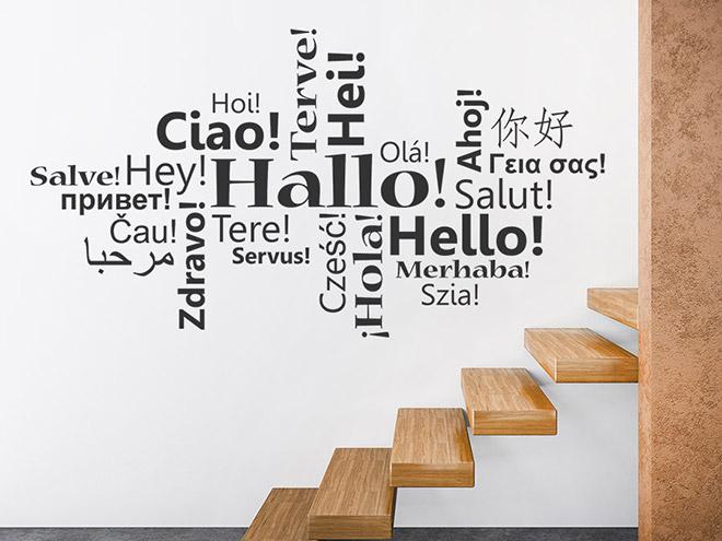 Wandtattoo Hallo in vielen Sprachen  WANDTATTOODE