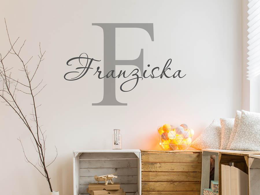 Wandtattoo Franziska als Namensschild Monogramm oder verschnrkelte Schrift