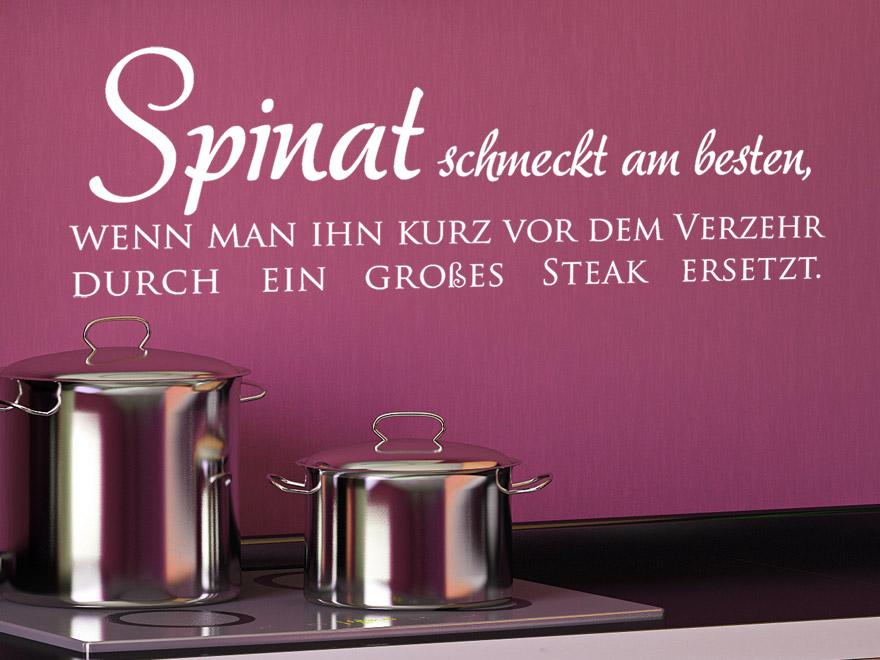 Wandtattoo Lustiger Spruch Spinat schmeckt am besten wenn man ihn kurz vor dem Verzehr