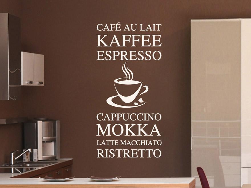 Modernes Wandtattoo Kaffee Variationen von Wandtattoonet