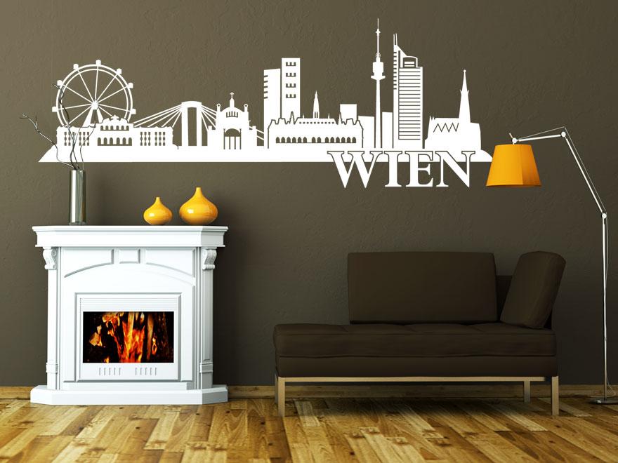 Stadt Wandtattoo Wien Skyline von Wandtattoonet