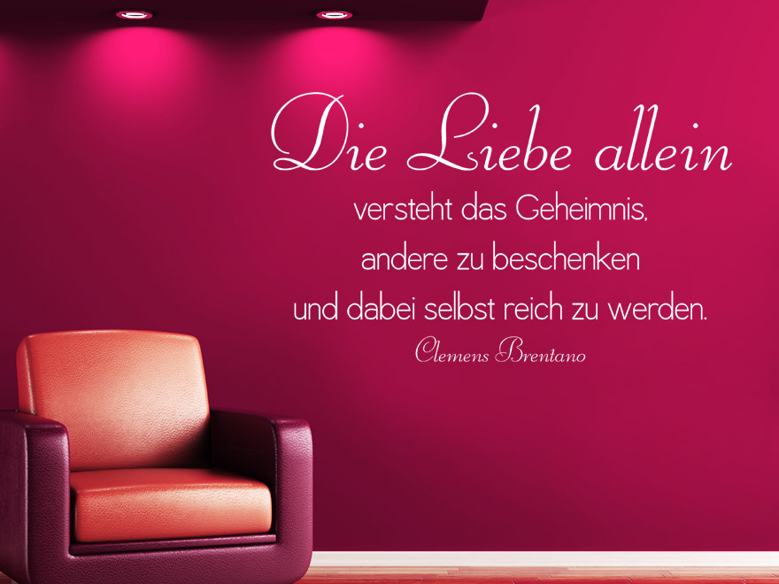 S Products Zitat Liebe Wandtattoo Die Liebe Allein L