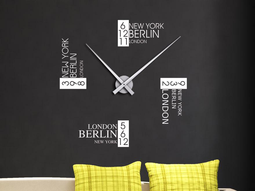 Wandtattoo Uhr Zeitzonen Wanduhr von Wandtattoonet