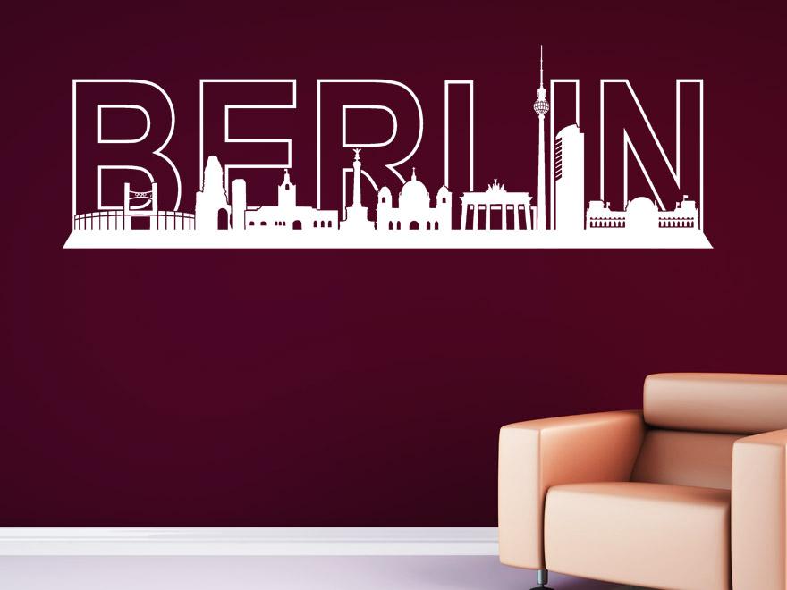 Stadt Wandtattoo Berlin Skyline von Wandtattoonet