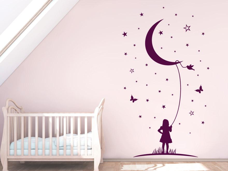 Sterne Wandtattoo Mond Phantasie Babyzimmer Wandtattoo von Wandtattoonet
