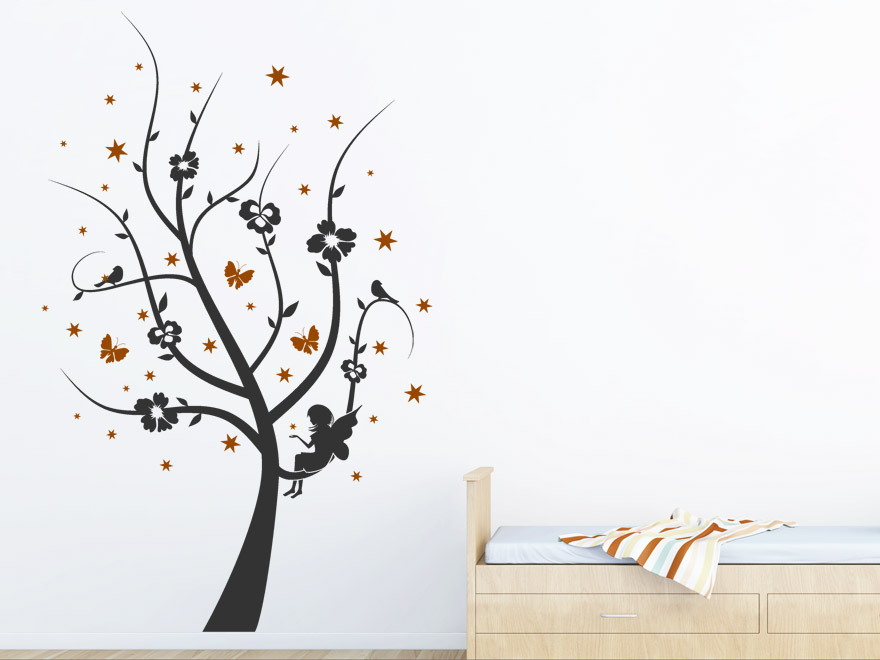 Zweifarbiges Kinder Wandtattoo Zauber Baum mit Sternen von