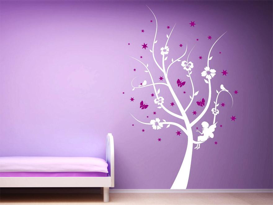 Zweifarbiges Kinder Wandtattoo Zauber Baum mit Sternen von Wandtattoonet