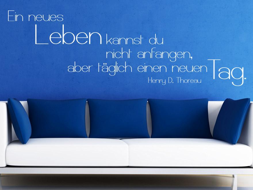 Motivierendes Wandtattoo Ein neues Leben Zitat Thoreau von Wandtattoonet