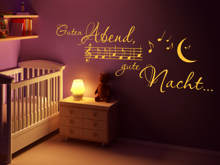 Kinderlied Wandtattoo Guten Abend von Wandtattoonet