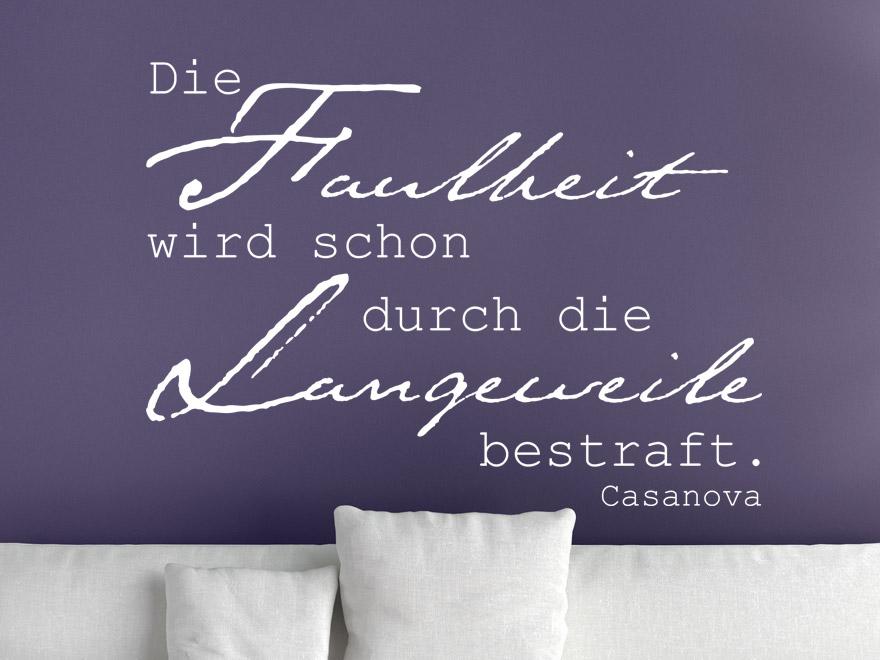 Casanova Wandtattoo Zitat Die Langeweile von Wandtattoonet