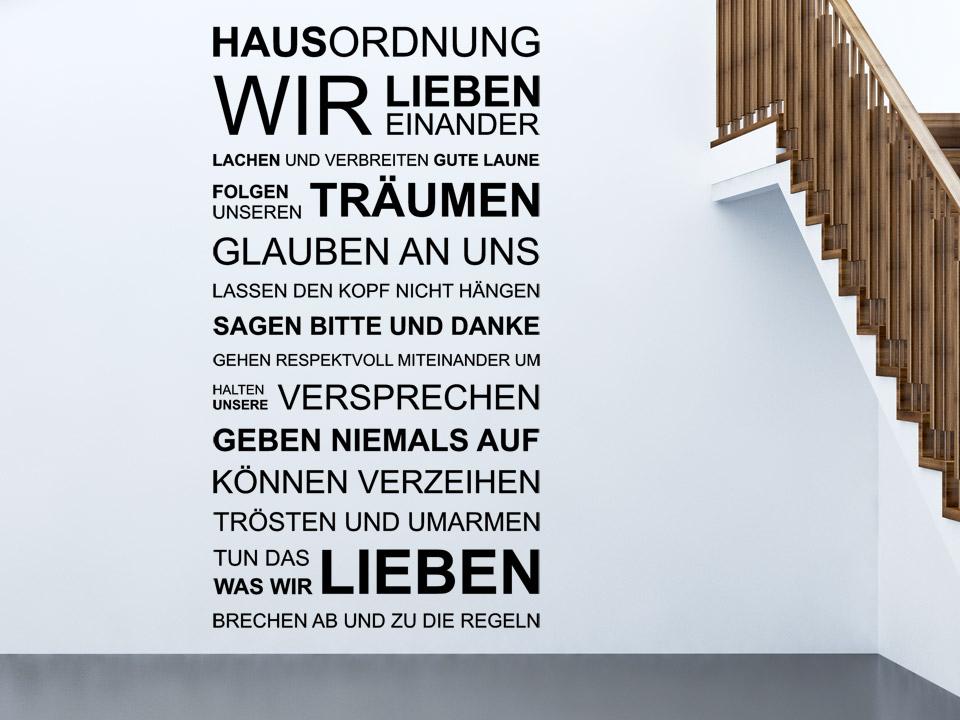 Wandtattoo Hausordnung Spruch Familie von Wandtattoonet