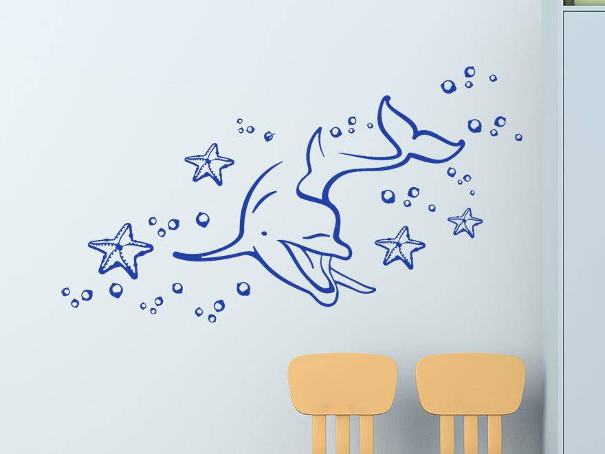 Wandtattoo Lustiger Delfin von Wandtattoonet