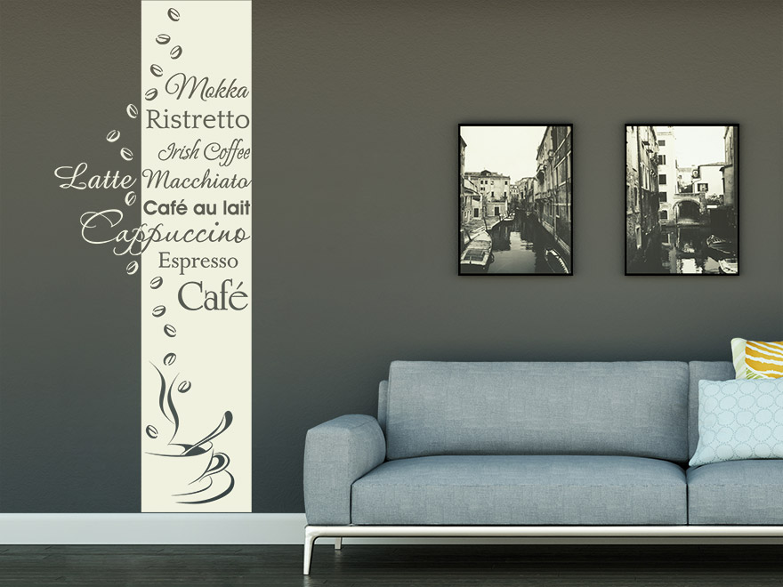 Wandtattoo Banner Kaffeesorten von Wandtattoonet