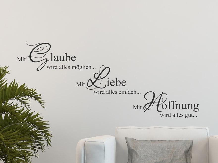 S Products Spruch Motivierend Wandtattoo Glaube Liebe Hoffnung L