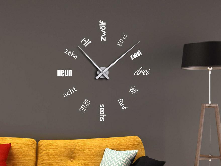 Wandtattoo Uhr Zahlen aus Schriften von Wandtattoonet