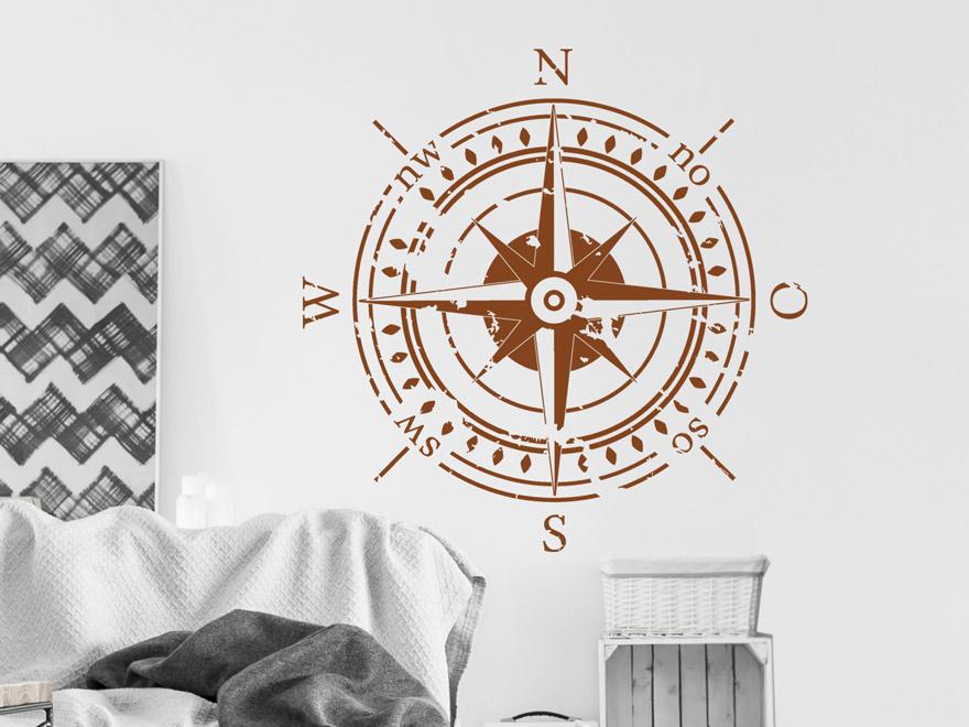 Wandtattoo Kompass mit Himmelsrichtungen von Wandtattoonet