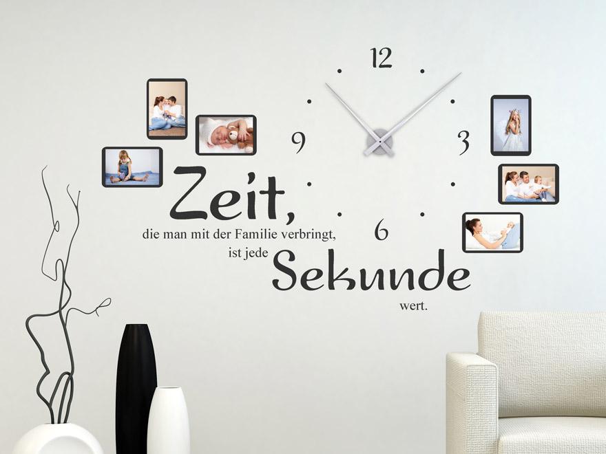 Wandtattoo Uhr Familienzeit mit Spruch und Fotos von Wandtattoonet