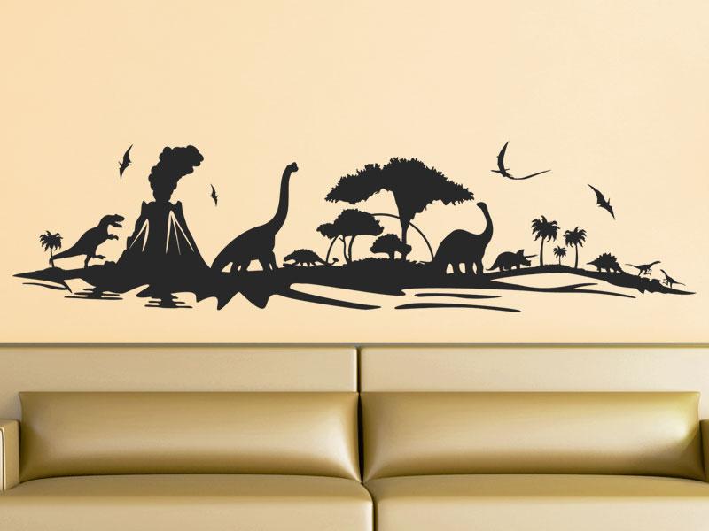 Wandtattoo Dinosaurier Landschaft als Skyline  Wandtattoosde