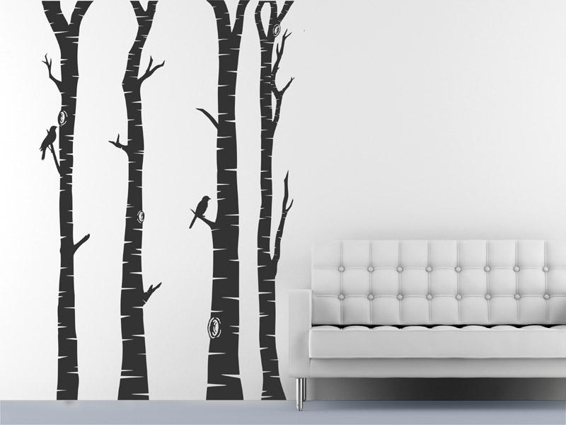 Baumstmme Wandtattoo Baumstmme Vgel Wald bei Wandtattoosde