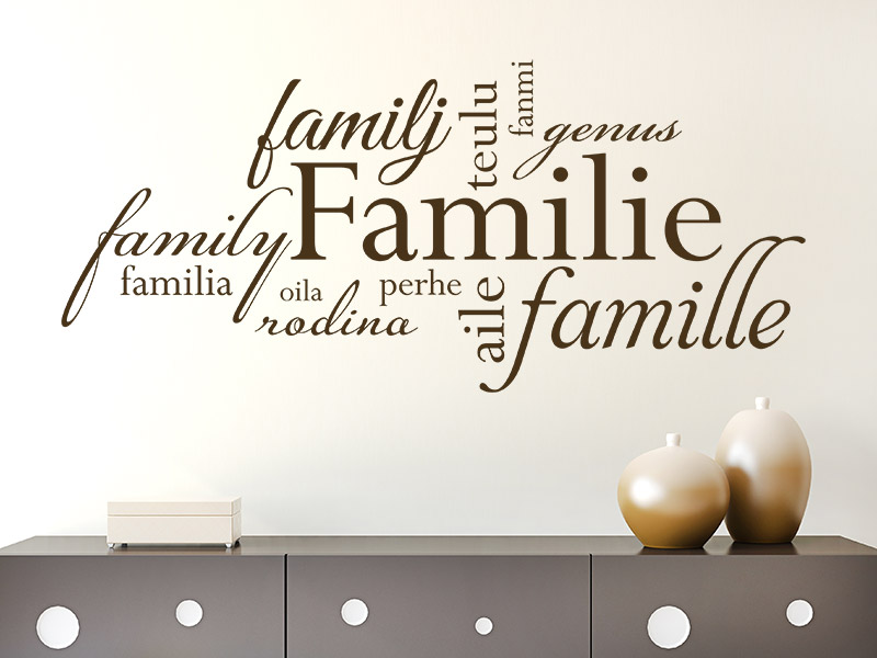 Wandtattoo Familie in verschiedenen Sprachen  Wandtattoosde