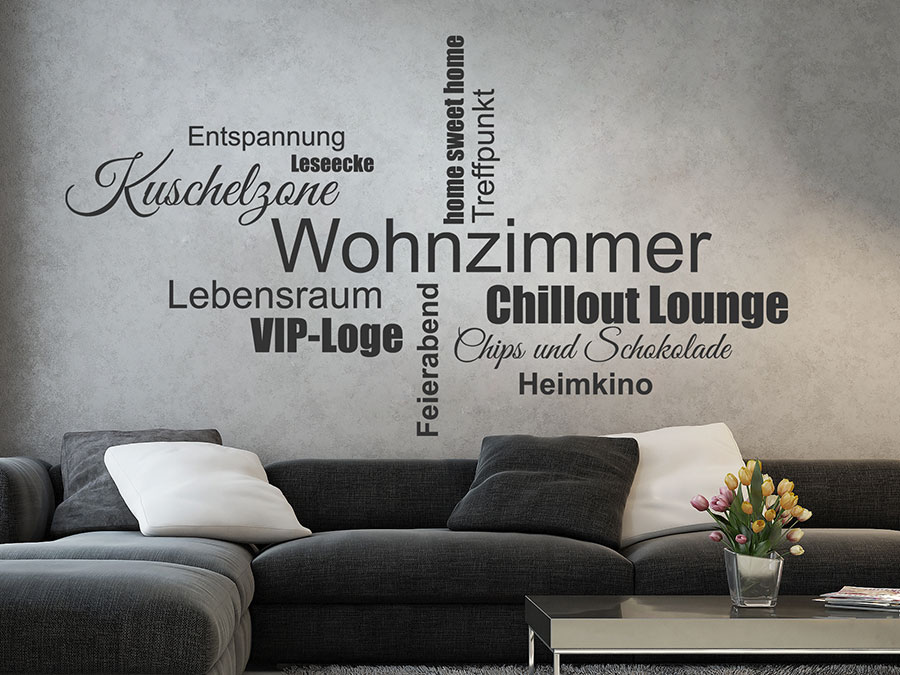 Wandtattoo Wohnzimmer Worte  Kuschelzone Wandtattoo von Wandtattoosde