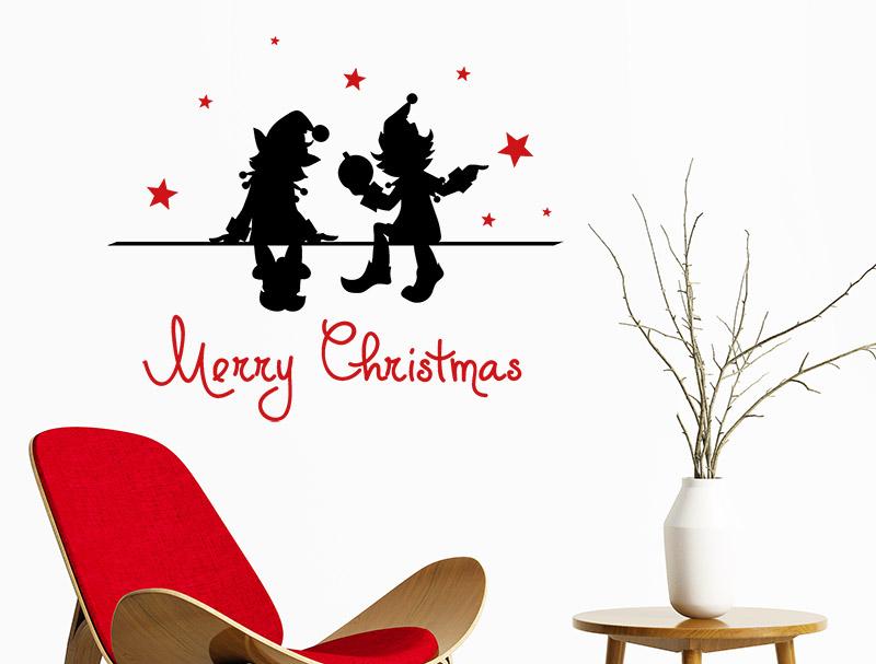 Wandtattoo Weihnachtswichtel mit Sternen  Wandtattoosde