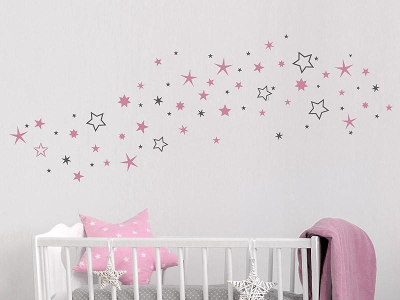 Wandtattoo Zweifarbige Sterne Sternenhimmel  Wandtattoosde