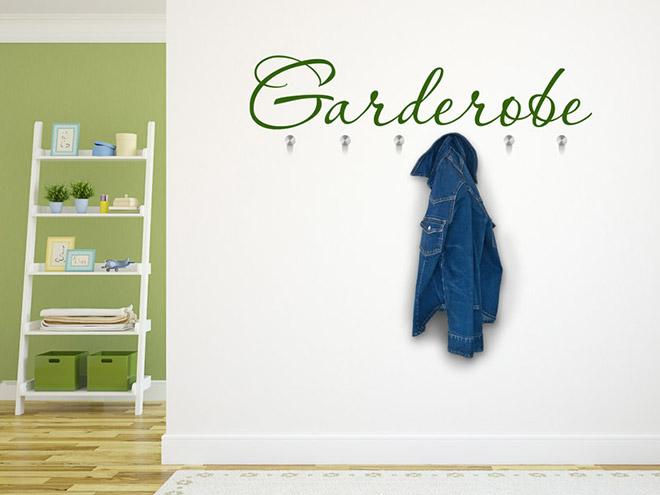 Wandtattoo Garderobe dekorativer Schriftzug  Wandtattoosde