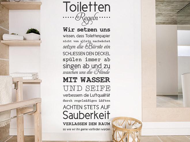 Wandtattoo Toilettenregeln Spruchbanner  Wandtattoosde