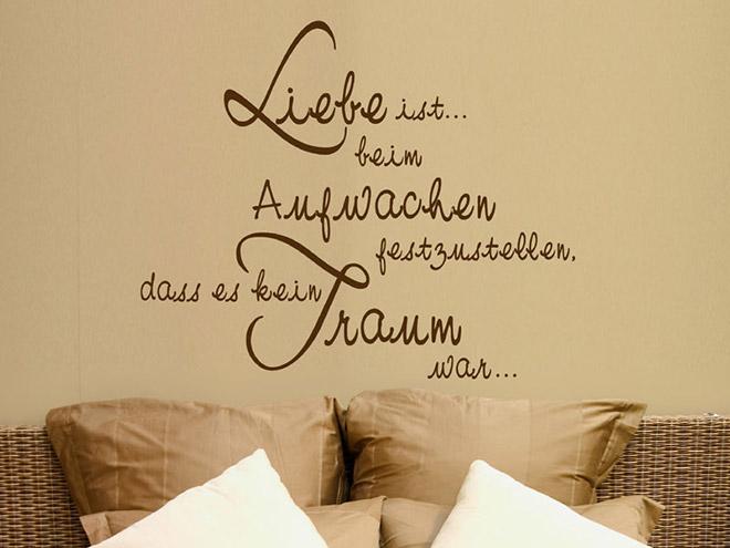 Wandtattoo Liebe ist beim Aufwachen  Wandtattoosde
