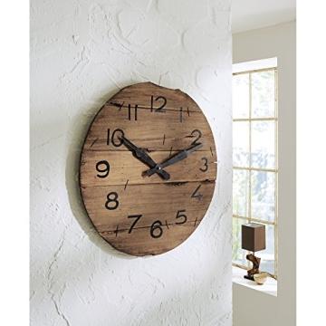Wanduhr Analog Holz Quarzuhrwerk XXL 52 cm braun/schwarz