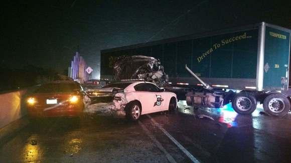 Trooper semi crash Gary
