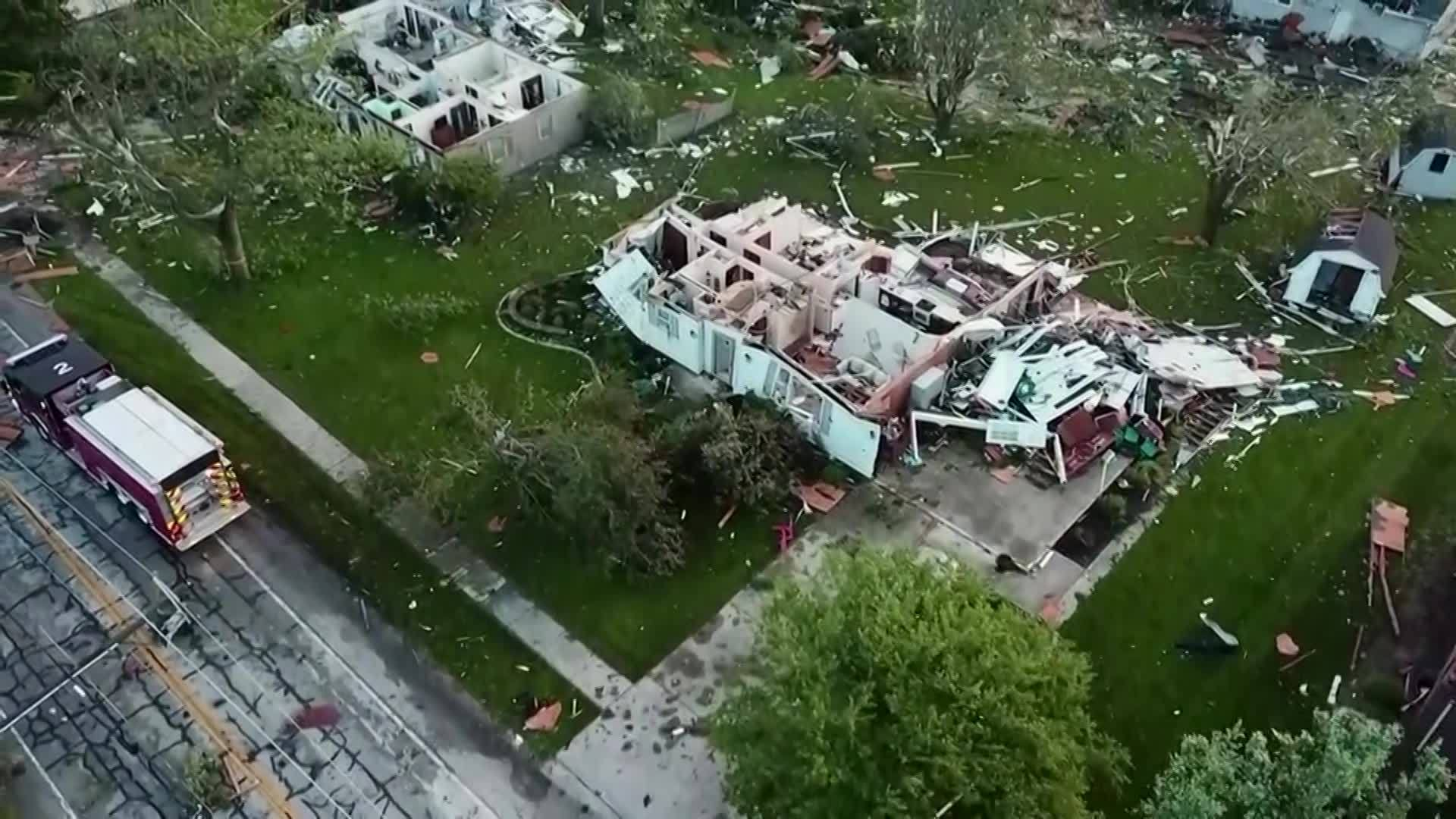 Drone video of damage in Celina