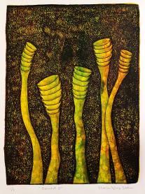 Grounded III, monotypi, blandteknik, 20x26,5 cm. ©Maria Wangi Ibohm