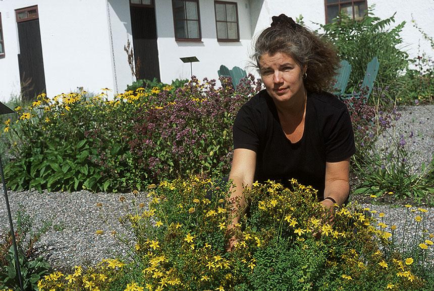 Maria Wangi Ibohm (Backström) i Grafikens Hus trädgård för växtfärger.