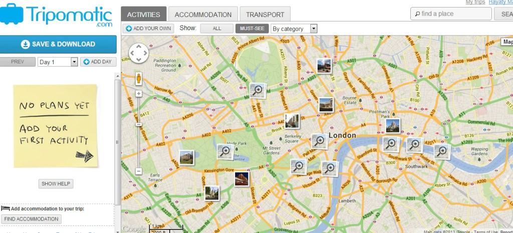 Anda hanya perlu taipkan London di ruangan Search, dan peta akan menunjukkan lokasi menarik yang terdapat di sekitar bandar London