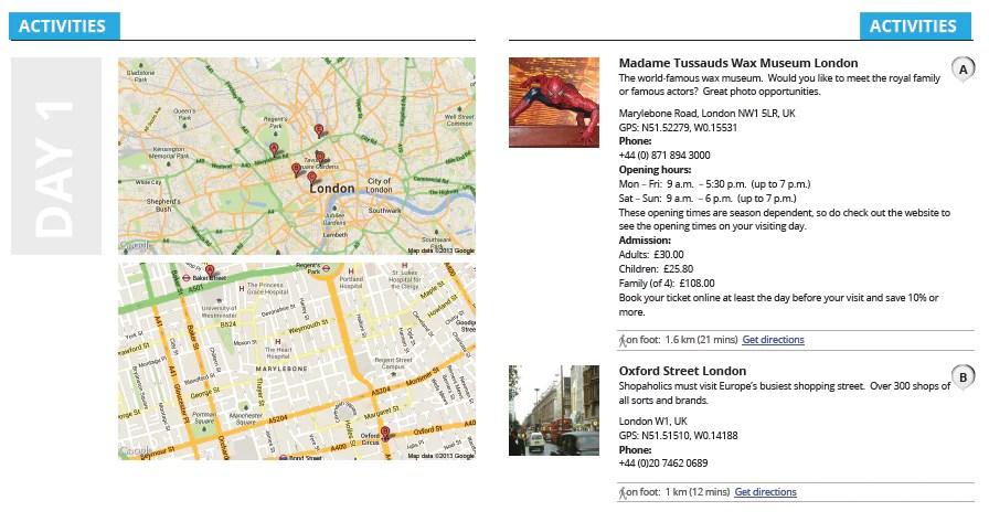 Dokumen  Tripomatic anda boleh dicetak.Maklumat terperinci seperti peta, lokasi tempat, nombor  telefon, jarak perjalanan juga ada disertakan bersama