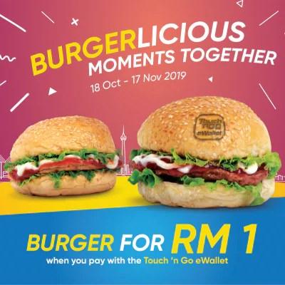 Beli Burger Serendah RM1 Guna Touch 'n Go eWallet