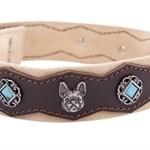 honden halsband deco steentjes bruin