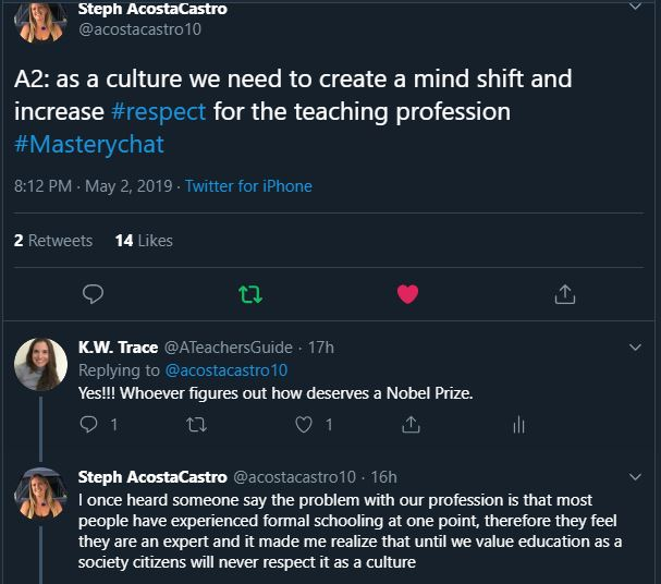 as a culture we need to create a mind shift and increase #respect for the teaching profession  #Masterychat